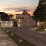 Render del progetto dell'ingresso principale da Via Trieste