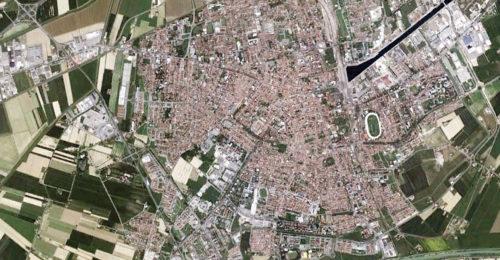 l'attuale area urbana di Ravenna vista dal satellite