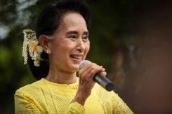 Aung San Suu Kyi Visits Kawhmu During Campaign Trail