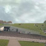 vista sull'accesso alla struttura commerciale con il giardino rampante