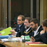 Il banco dell'imputato: in fondo Matteo Cagnoni, accanto a lui il collegio difensivo coordinato dall'avvocato Giovanni Trombini