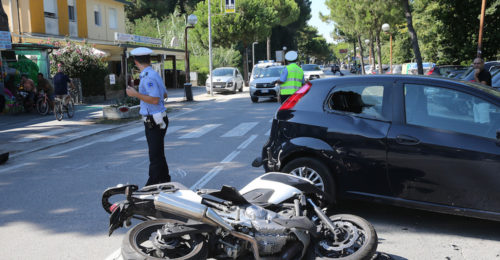RAVENNA 04/08/2018. INCIDENTE A MARINA DI RAVENNA. Anto Moto In Viale Delle Nazioni