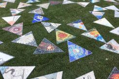 """Il labirinto musivo """"Il filo e le ali"""" in piazza del Popolo"""