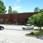 Un rendering del futuro ampliamento di 280 mq del supemercato Conad a Faenza adiacente all'arena Borghesi. Gli alberi rimossi saranno rimpianti con esemplari già adulti