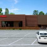 Un rendering del futuro ampliamento di 280 mq del supemercato Conad a Faenza adiacente all'arena Borghesi. 700mila euro di opere pubbliche a carico della Cia