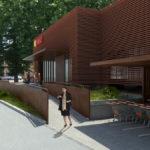 Un rendering del futuro ampliamento di 280 mq del supemercato Conad a Faenza adiacente all'arena Borghesi
