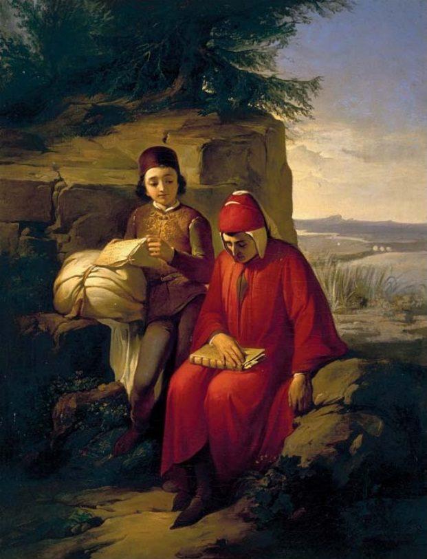 """Annibale Gatti, """"Dante In Esilio"""" (olio su tela, 1854, Galleria degli Uffizi di Firenze)"""