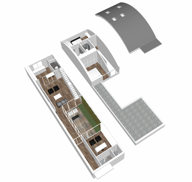 Modulo abitazione di rigenerazione urbana ex edificio artigianale in Drasena di citta (spaccato progetto Nuovostudio di Ravenna)