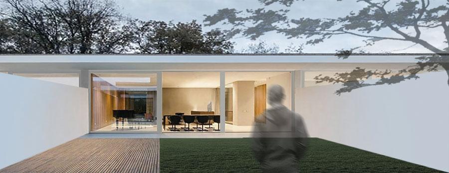 Esterno di una casa a patio (rendering progetto Nuovostudio di Ravenna)