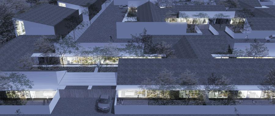 """Nuovo comparto area S2 """"Agraria"""", zona circonvallazione Nord, quartiere San Giuseppe (rendering vista notturna del progetto Nuovostudio di Ravenna)"""