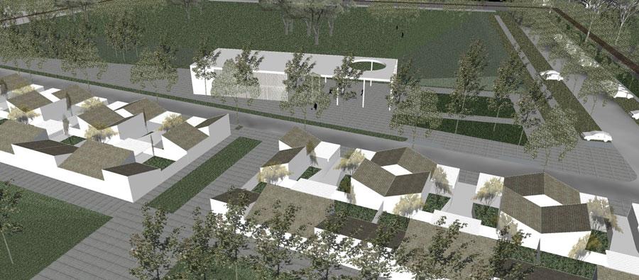 Il villaggio green di Mezzano (proprietà Tozzi Group, rendering progetto di Nuvostudio di Ravenna)