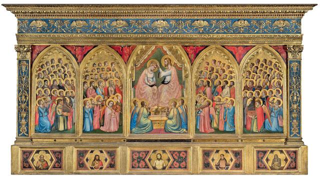 Giotto di Bondone - Taddeo Gaddi Incoronazione della Vergine tra angeli e santi (Polittico Baroncelli), 1328 circa tempera e oro su tavola, Firenze, Basilica di Santa Croce