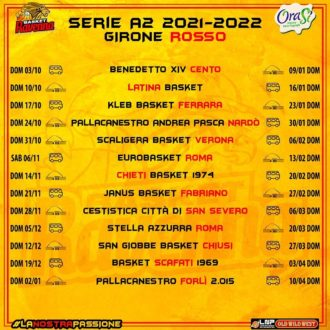 Calendario Girone Rosso A2 Basket