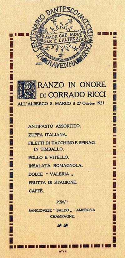 Menu Corrado Ricci 1921